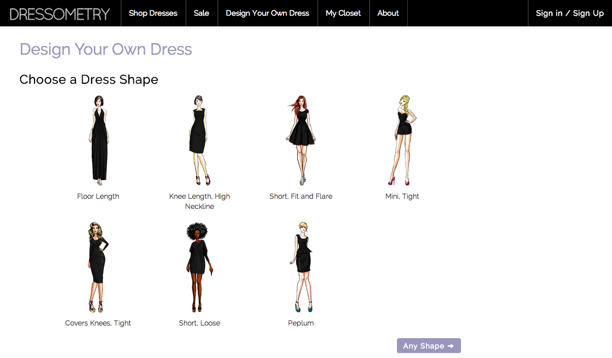 Design Your Dress Feature