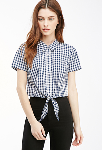 tie front gingham nroh