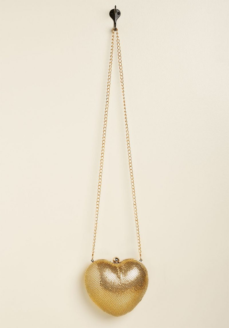 gold heart purse nroh modcloth