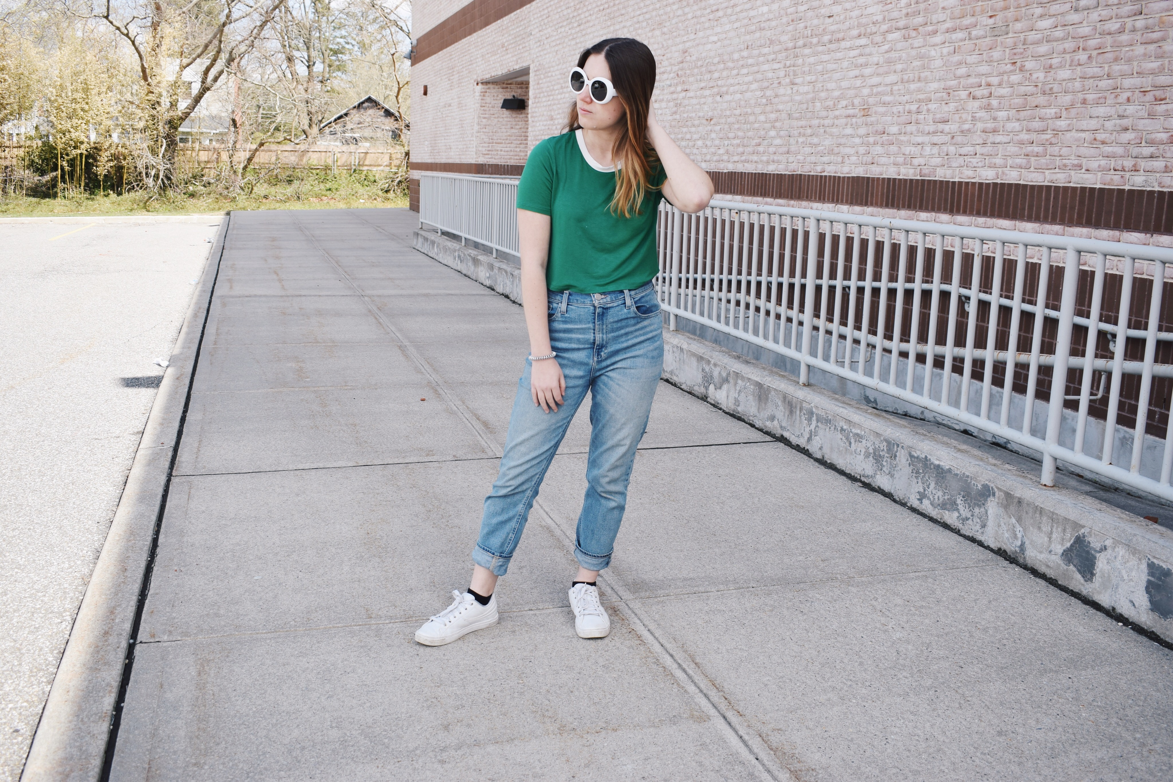 green t shirt outfit